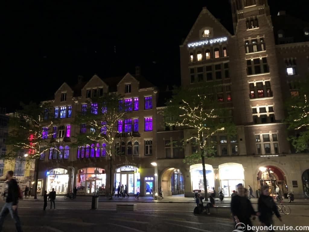 Amsterdam Dam Square shops at night