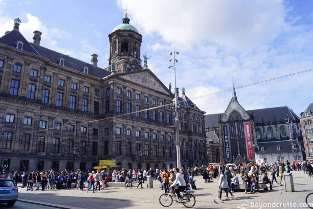 Amsterdam Dam Square with tourists