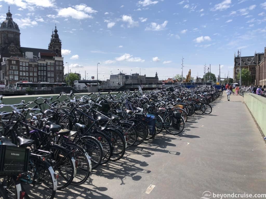 Amsterdam bikes near train station