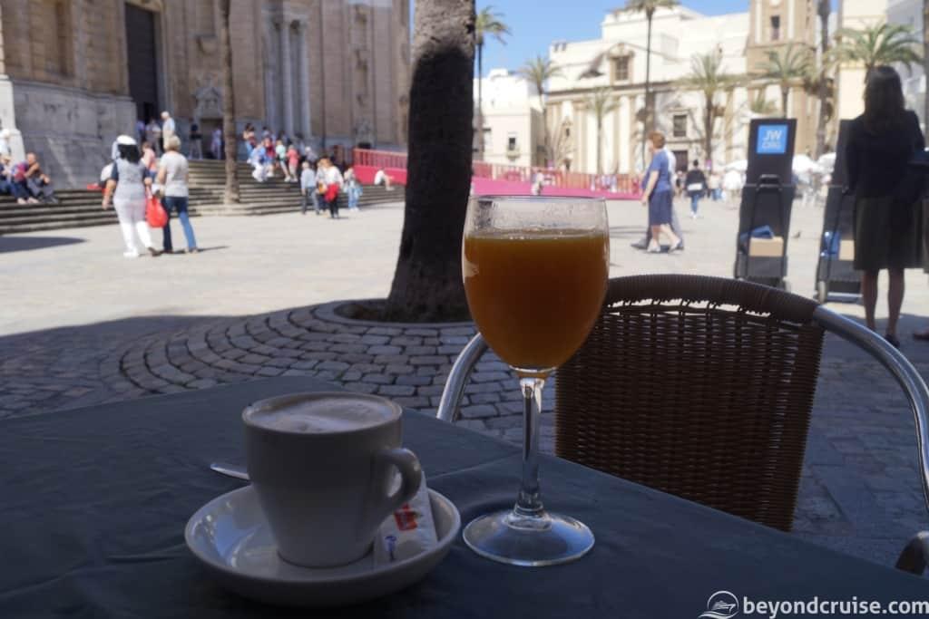 Cadiz Cathedral area local cafe