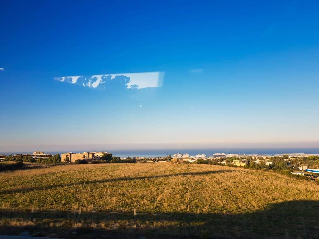 Port of Civitavecchia view from the coach