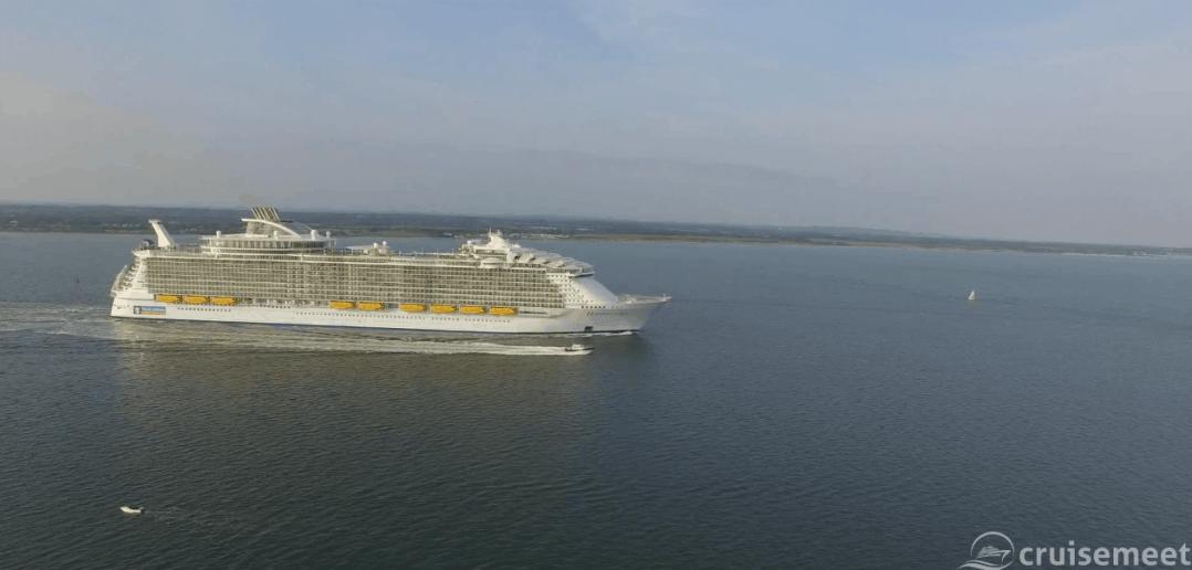 Harmony of the Seas sails out of Southampton