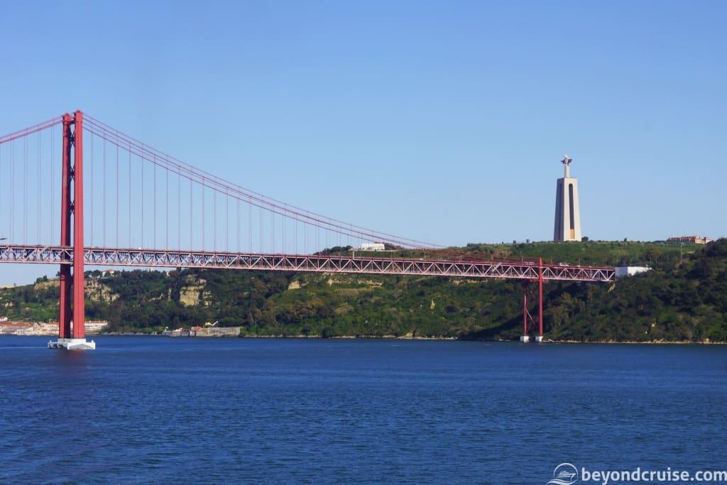 Lisbon Ponte 25 de Abril Bridge with Christ the King statue