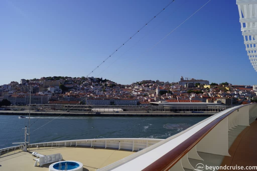 Lisbon River Tagus view from MSC Magnifica Deck 11 Forward