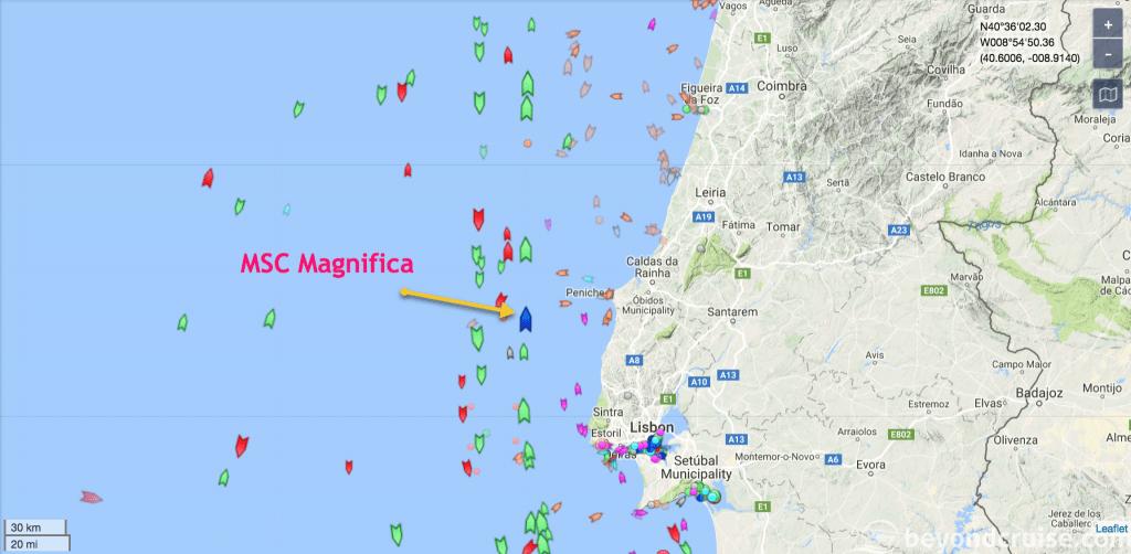 MSC Magnifica at sea - Off the coast of Portugal