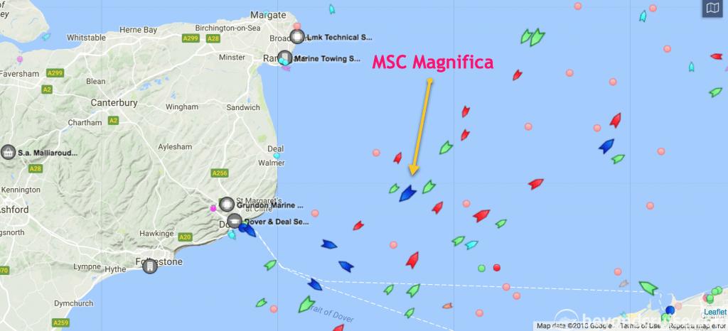 MSC Magnifica enroute to Southampton