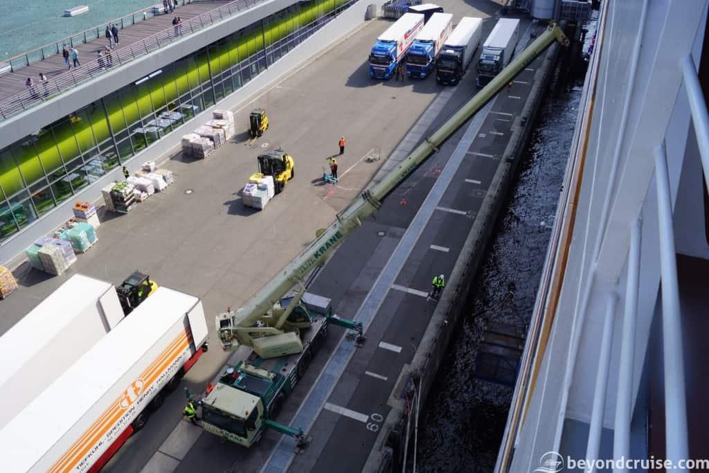 MSC Magnifica receiving new supplies via crane