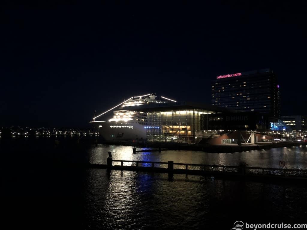 MSC Magnifica at Passenger Terminal Amsterdam at night
