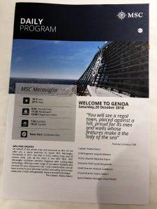 MSC Meraviglia – Genoa Daily Program cover