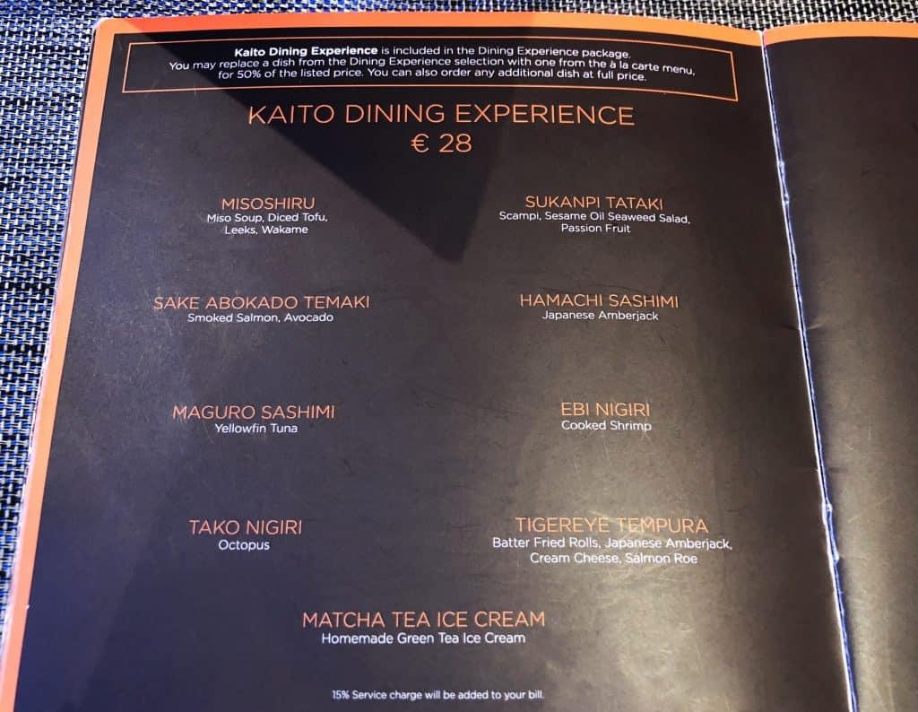 MSC Meraviglia - Kaito Sushi - Dining Experience menu
