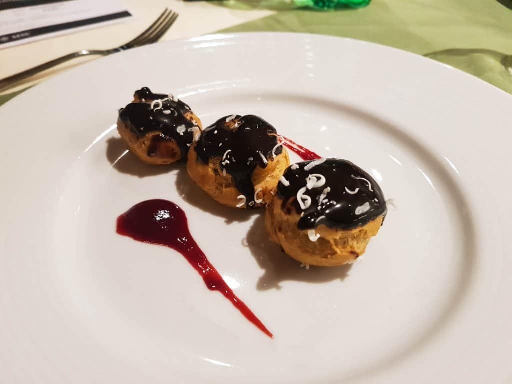 Main Dining Room Dinner – Chocolate Profiteroles Dessert