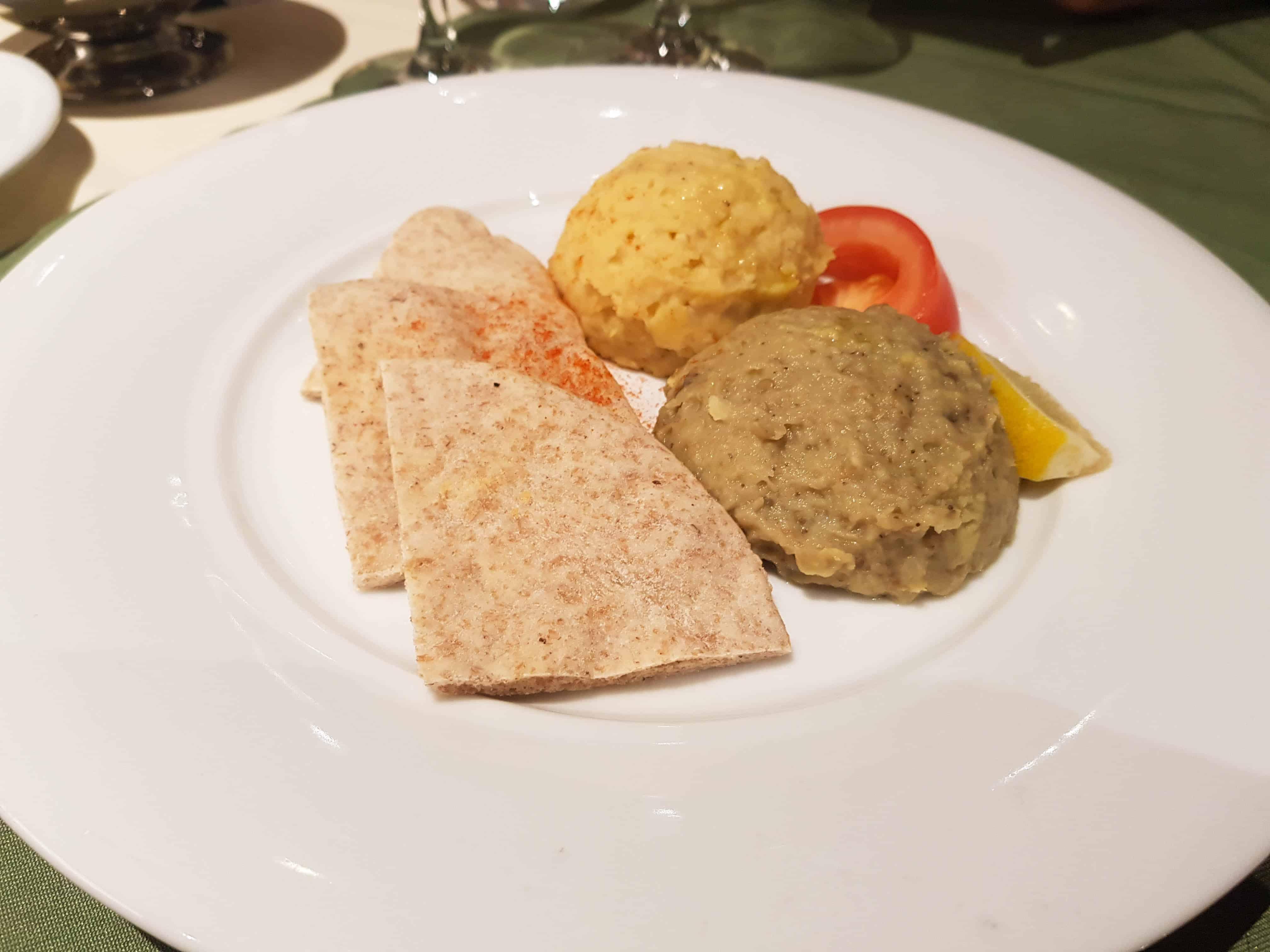 Main Dining Room Dinner – Vegetarian Main, Hummus and Baba Ganoush