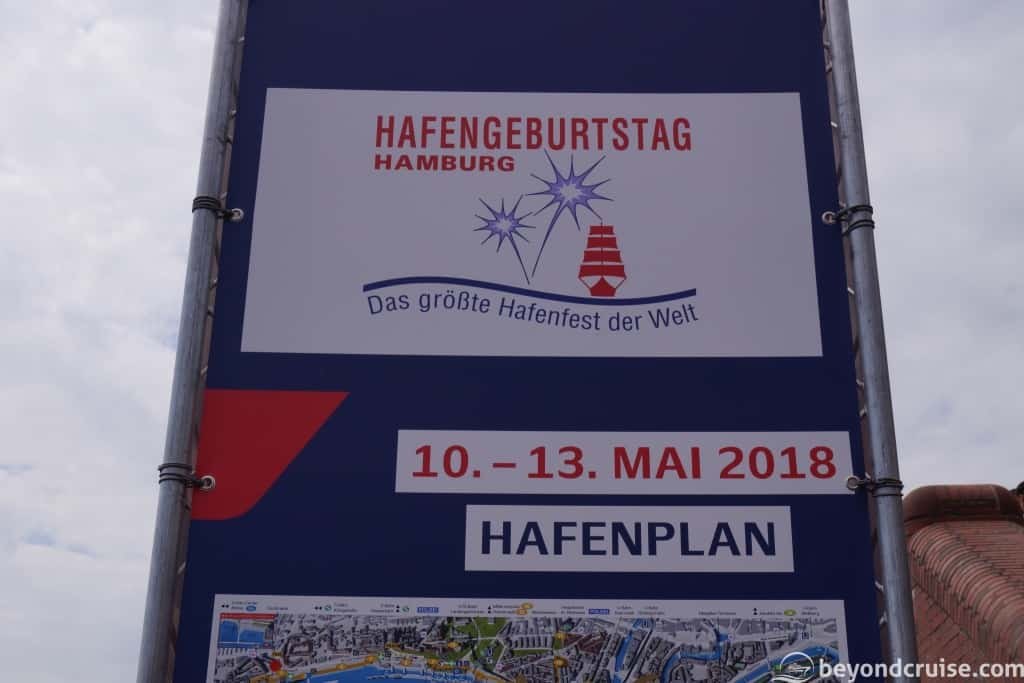 Port of Hamburg 829th Anniversary sign