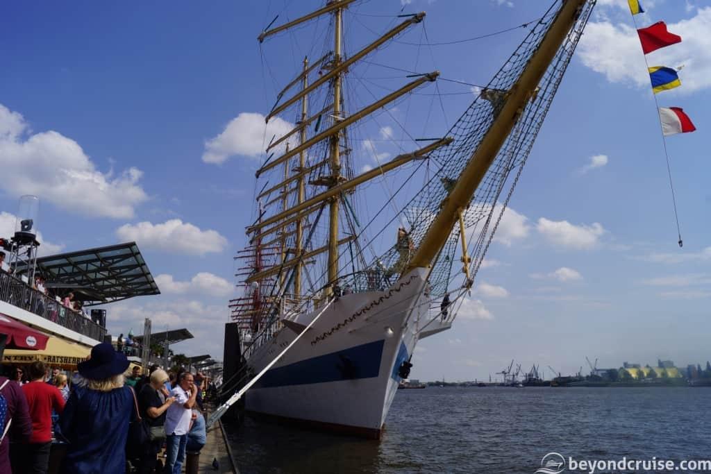 Tall ship at Port of Hamburg 829th Anniversary