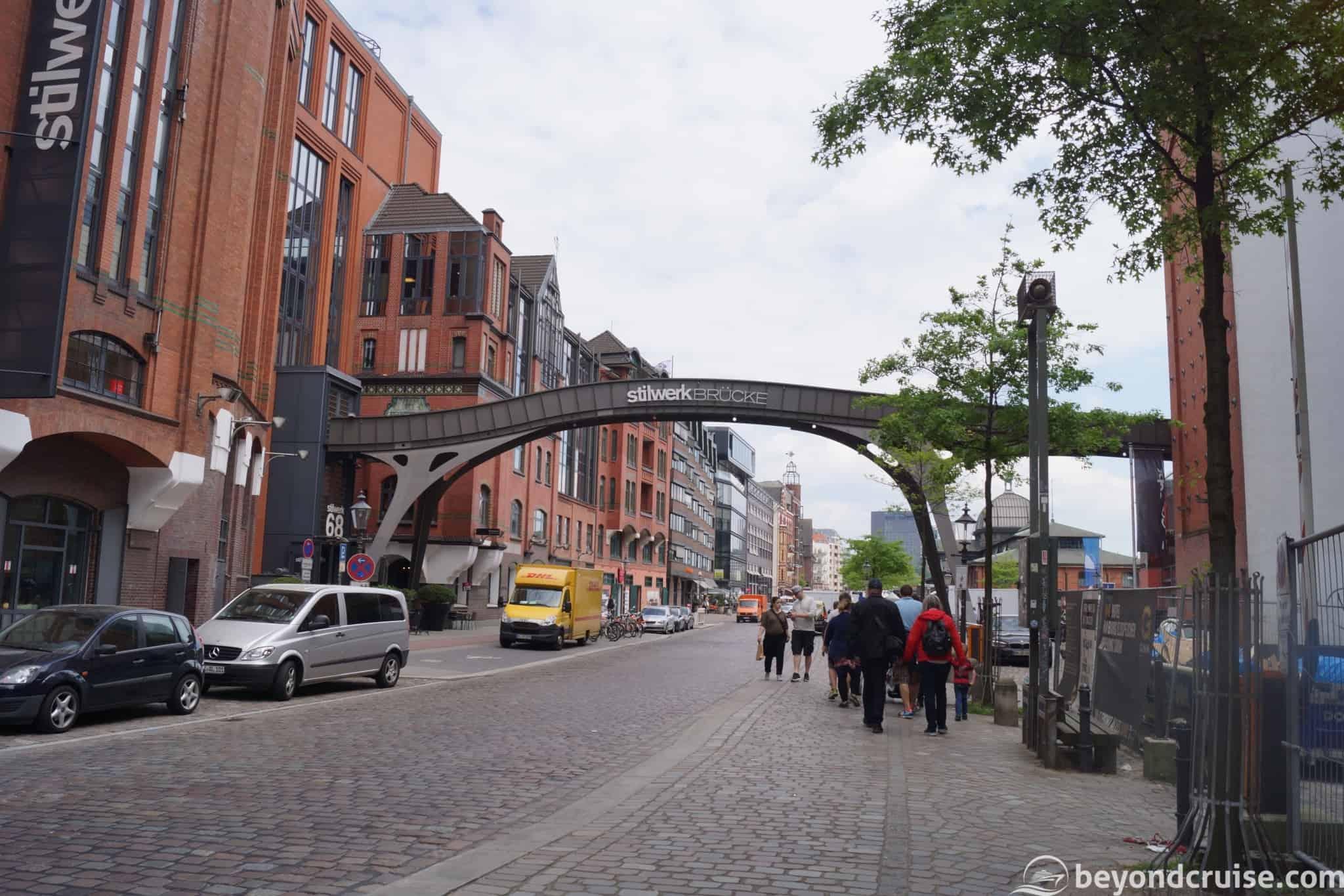 Port of Hamburg River Elbe waterfront walk
