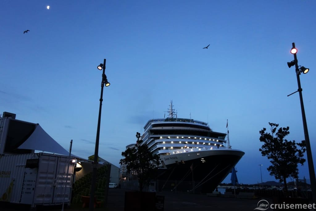 Queen Victoria bow view at dusk at Queen's Wharf, Auckland, New Zealand