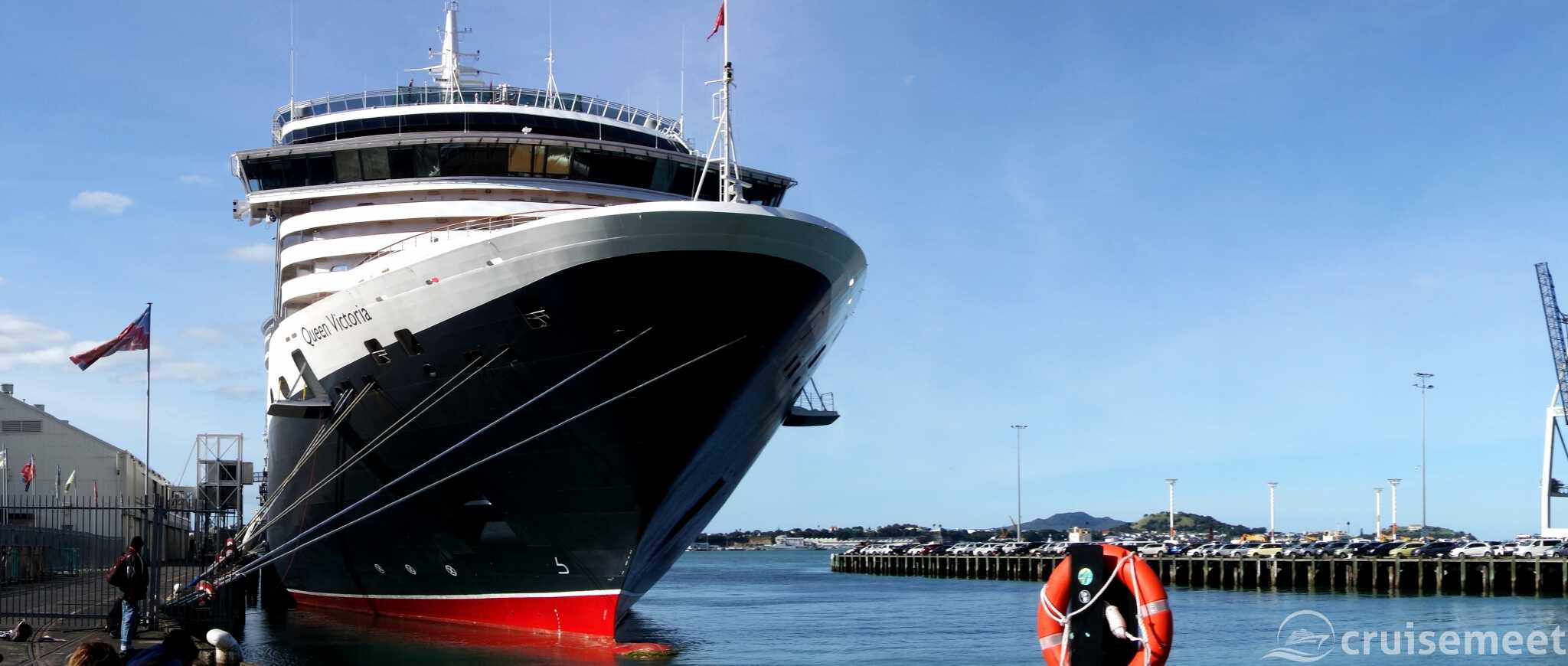Queen Victoria bow view at Queen's Wharf, Auckland, New Zealand